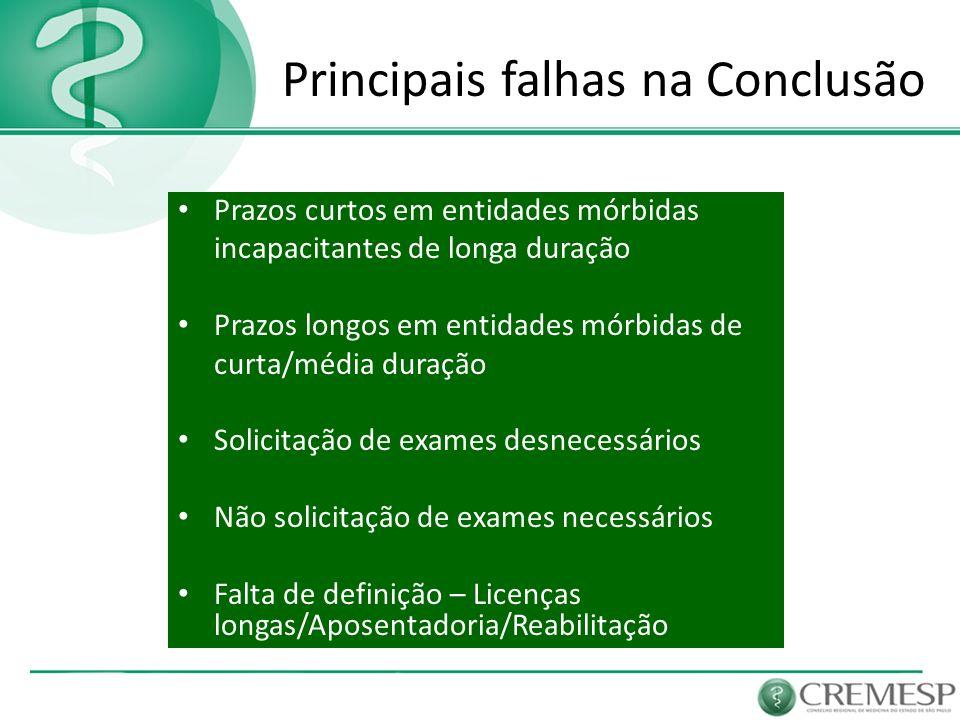 Principais falhas na Conclusão Prazos curtos em entidades mórbidas incapacitantes de longa duração Prazos longos em entidades mórbidas de curta/média