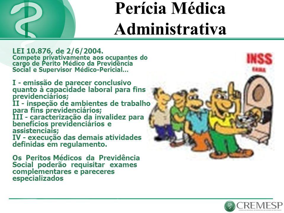 Perícia Médica Administrativa LEI 10.876, de 2/6/2004. Compete privativamente aos ocupantes do cargo de Perito Médico da Previdência Social e Supervis