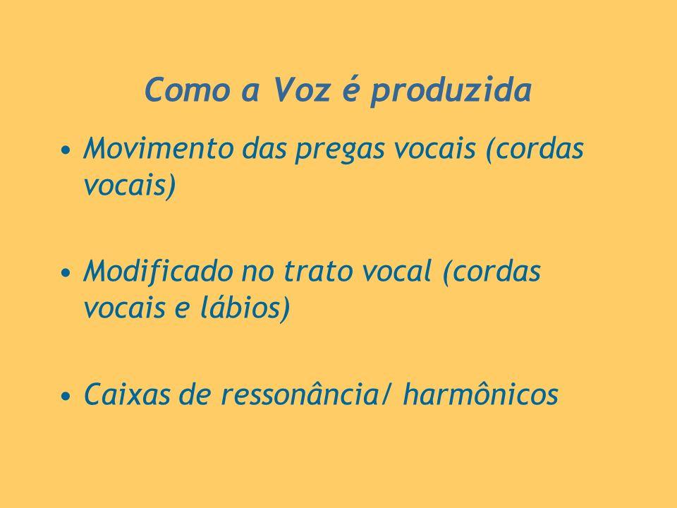 Como a Voz é produzida Movimento das pregas vocais (cordas vocais) Modificado no trato vocal (cordas vocais e lábios) Caixas de ressonância/ harmônico