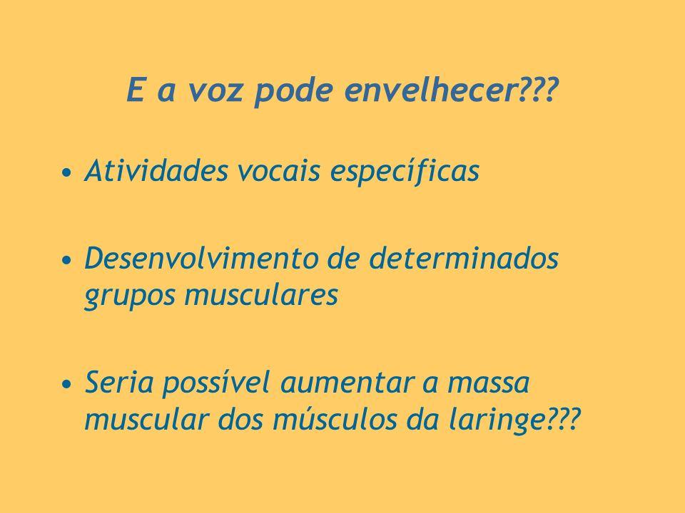 E a voz pode envelhecer??? Atividades vocais específicas Desenvolvimento de determinados grupos musculares Seria possível aumentar a massa muscular do