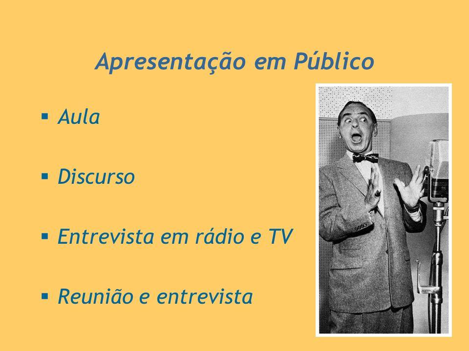 Apresentação em Público Aula Discurso Entrevista em rádio e TV Reunião e entrevista