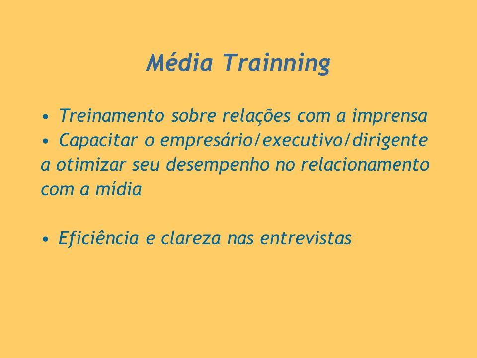 Média Trainning Treinamento sobre relações com a imprensa Capacitar o empresário/executivo/dirigente a otimizar seu desempenho no relacionamento com a