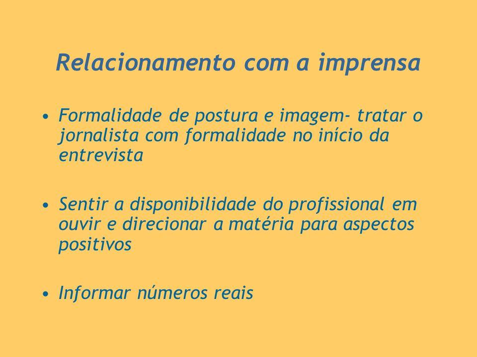Relacionamento com a imprensa Formalidade de postura e imagem- tratar o jornalista com formalidade no início da entrevista Sentir a disponibilidade do