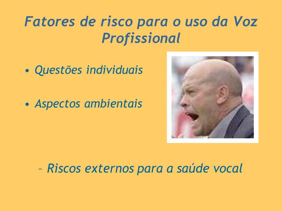 Fatores de risco para o uso da Voz Profissional Questões individuais Aspectos ambientais –Riscos externos para a saúde vocal