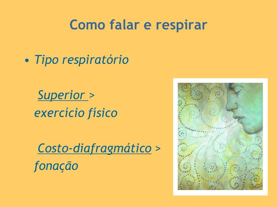 Como falar e respirar Tipo respiratório Superior > exercício físico Costo-diafragmático > fonação