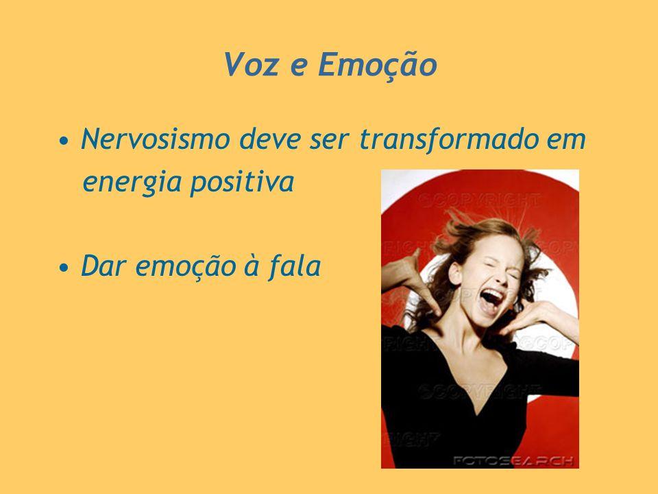 Voz e Emoção Nervosismo deve ser transformado em energia positiva Dar emoção à fala