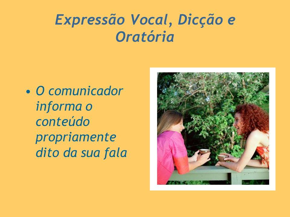 Expressão Vocal, Dicção e Oratória O comunicador informa o conteúdo propriamente dito da sua fala
