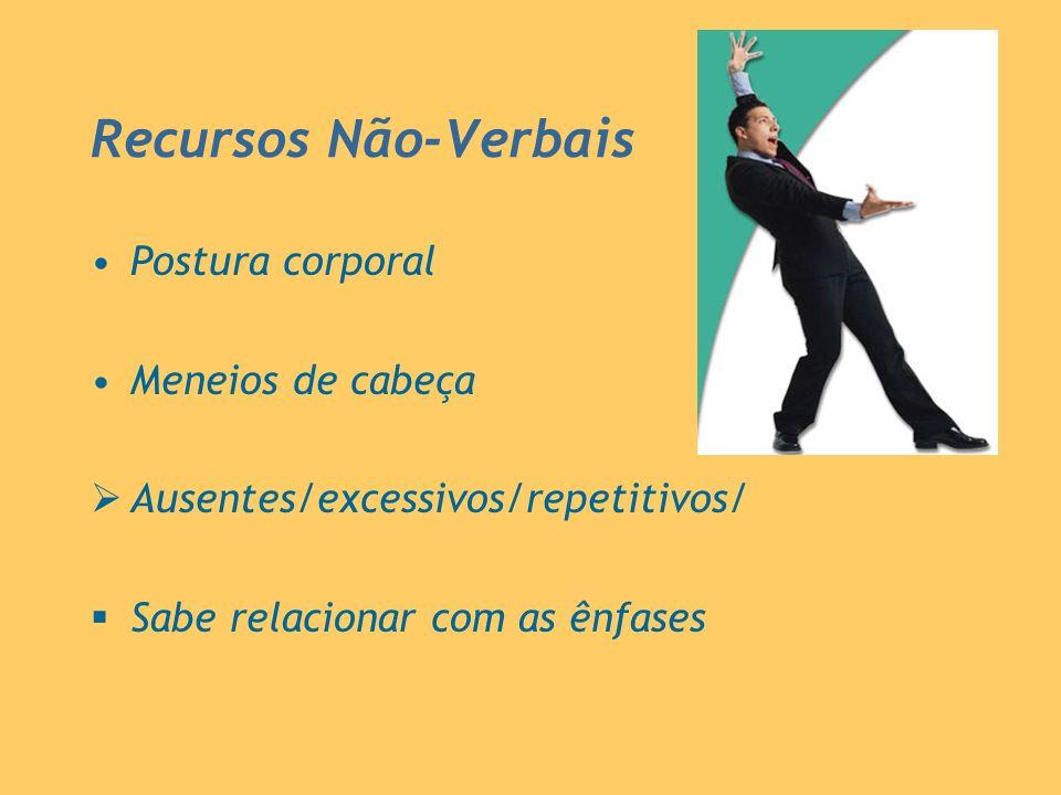 Recursos Não-Verbais Postura corporal Meneios de cabeça Ausentes/excessivos/repetitivos/ Sabe relacionar com as ênfases