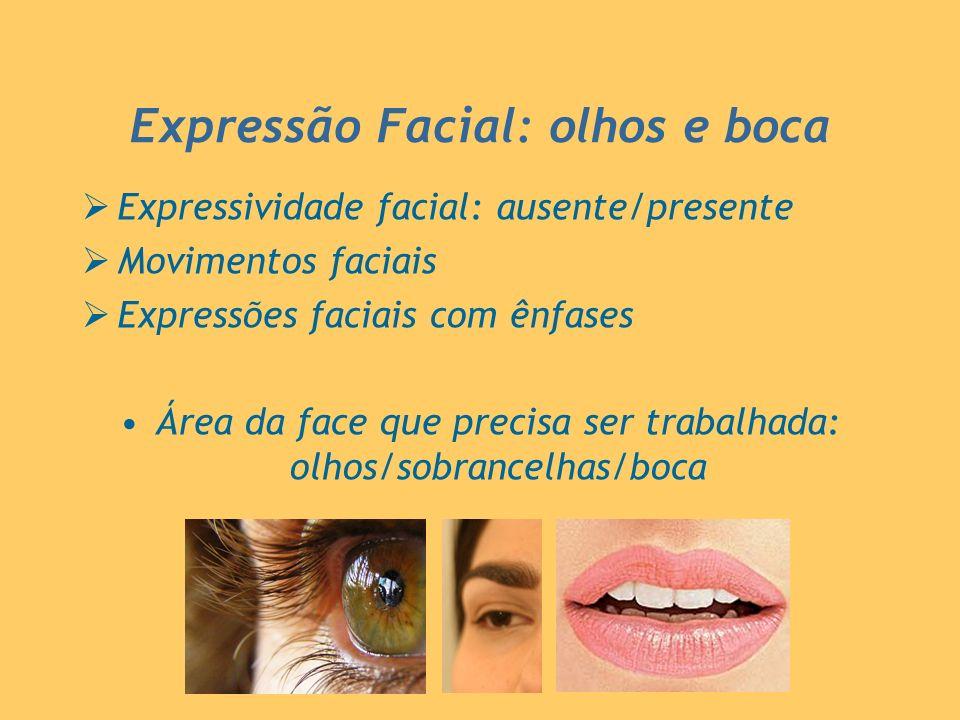Expressão Facial: olhos e boca Expressividade facial: ausente/presente Movimentos faciais Expressões faciais com ênfases Área da face que precisa ser