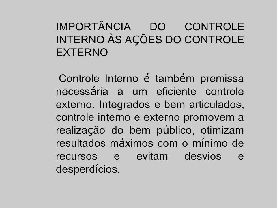 IMPORTÂNCIA DO CONTROLE INTERNO À S A Ç ÕES DO CONTROLE EXTERNO Controle Interno é tamb é m premissa necess á ria a um eficiente controle externo. Int