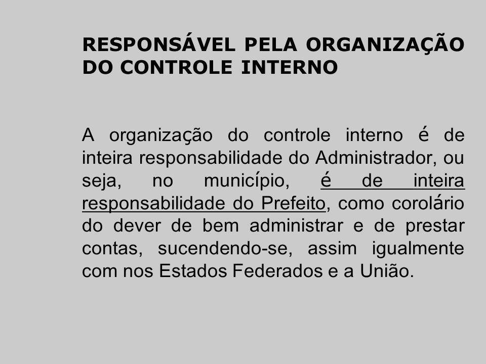 RESPONSÁVEL PELA ORGANIZAÇÃO DO CONTROLE INTERNO A organiza ç ão do controle interno é de inteira responsabilidade do Administrador, ou seja, no munic