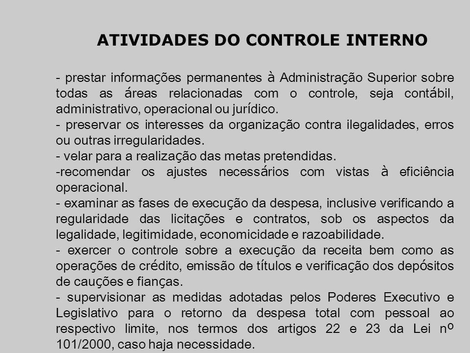 ATIVIDADES DO CONTROLE INTERNO - prestar informa ç ões permanentes à Administra ç ão Superior sobre todas as á reas relacionadas com o controle, seja