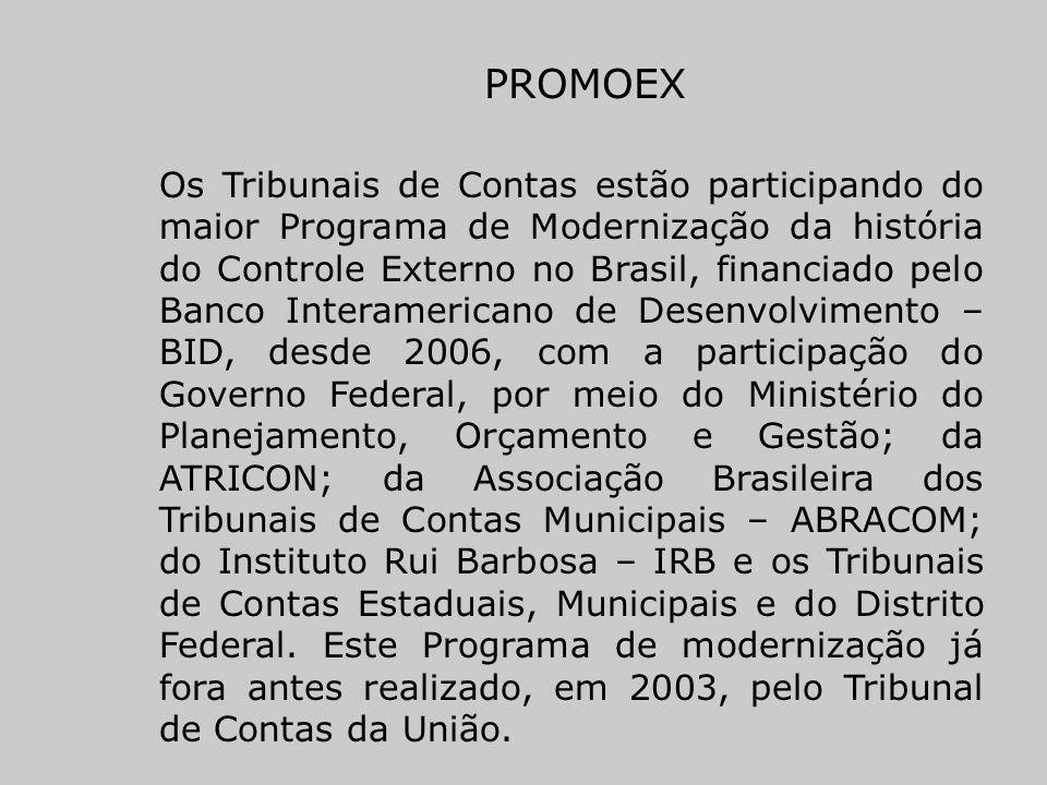 PROMOEX Os Tribunais de Contas estão participando do maior Programa de Modernização da história do Controle Externo no Brasil, financiado pelo Banco I