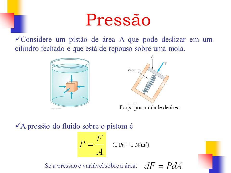 Pressão Força por unidade de área (1 Pa = 1 N/m 2 ) Se a pressão é variável sobre a área: Considere um pistão de área A que pode deslizar em um cilind