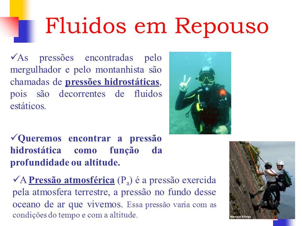 Fluidos em Repouso As pressões encontradas pelo mergulhador e pelo montanhista são chamadas de pressões hidrostáticas, pois são decorrentes de fluidos