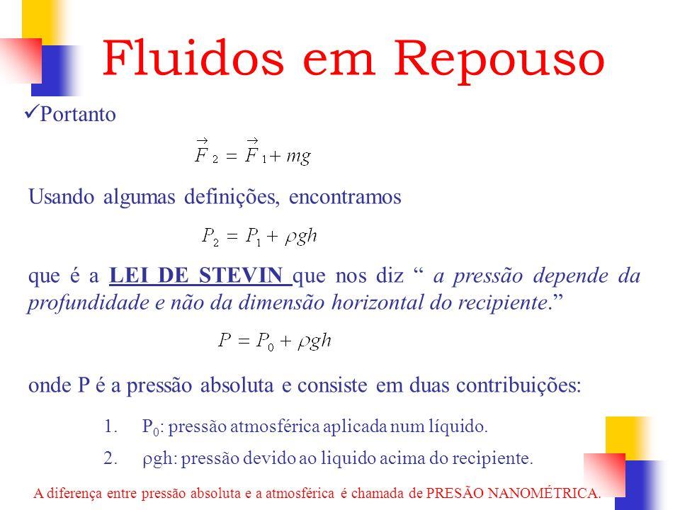 Portanto Fluidos em Repouso Usando algumas definições, encontramos que é a LEI DE STEVIN que nos diz a pressão depende da profundidade e não da dimens