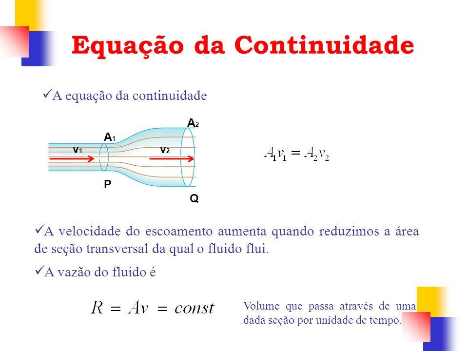 Equação da Continuidade P Q A1A1 A2A2 v1v1 v2v2 A velocidade do escoamento aumenta quando reduzimos a área de seção transversal da qual o fluido flui.