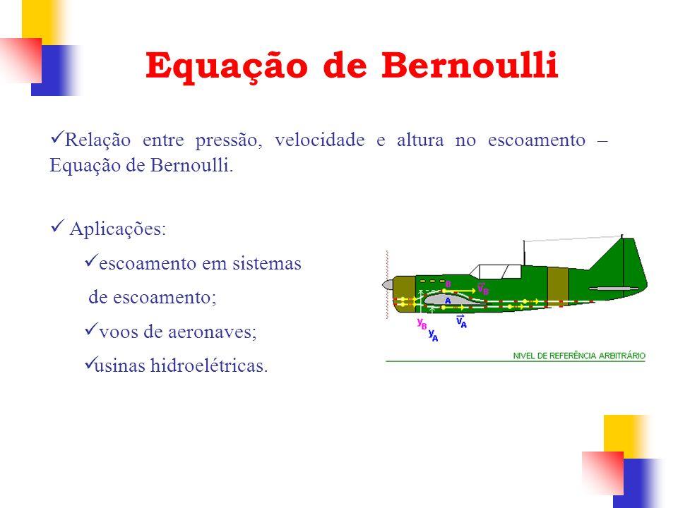 Equação de Bernoulli Relação entre pressão, velocidade e altura no escoamento – Equação de Bernoulli. Aplicações: escoamento em sistemas de escoamento