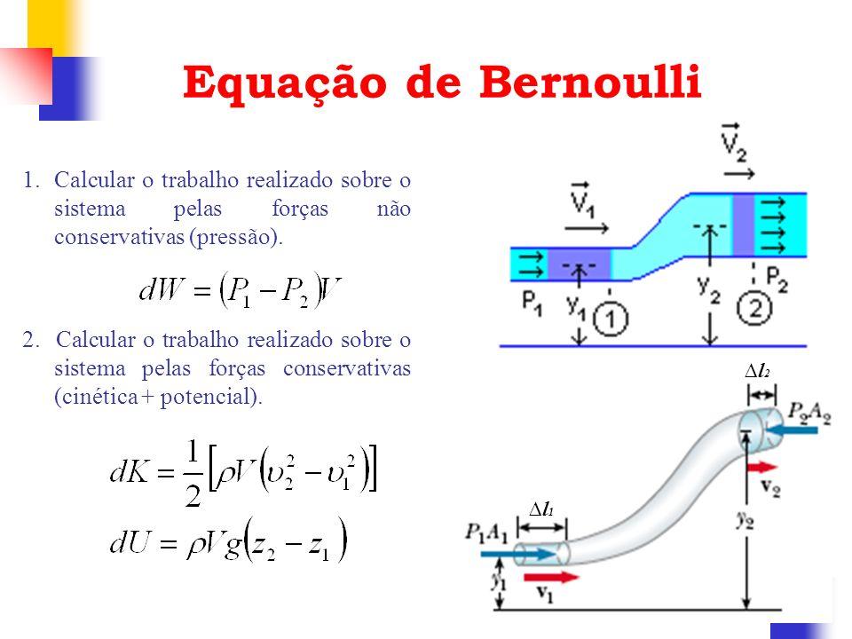 Equação de Bernoulli 1.Calcular o trabalho realizado sobre o sistema pelas forças não conservativas (pressão). 2. Calcular o trabalho realizado sobre