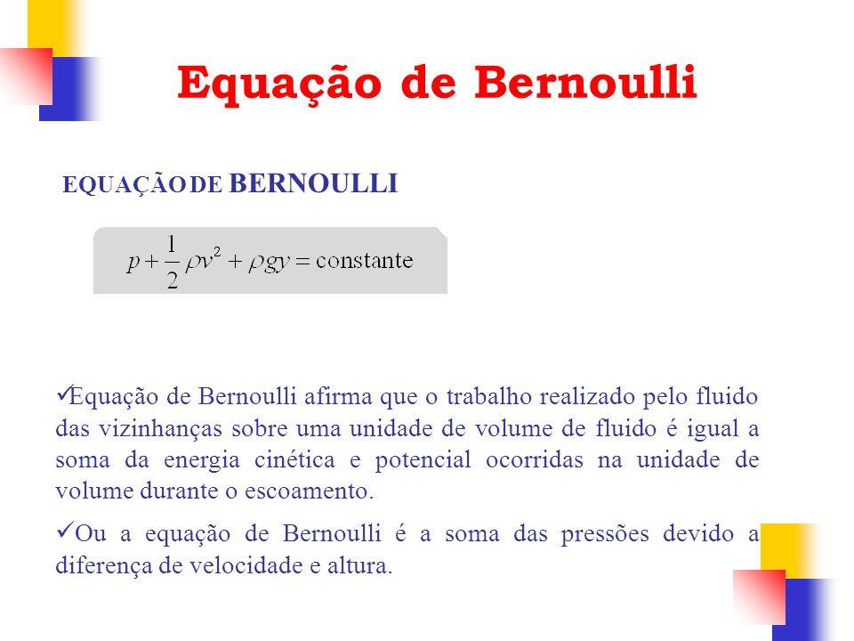 Equação de Bernoulli EQUAÇÃO DE BERNOULLI Equação de Bernoulli afirma que o trabalho realizado pelo fluido das vizinhanças sobre uma unidade de volume