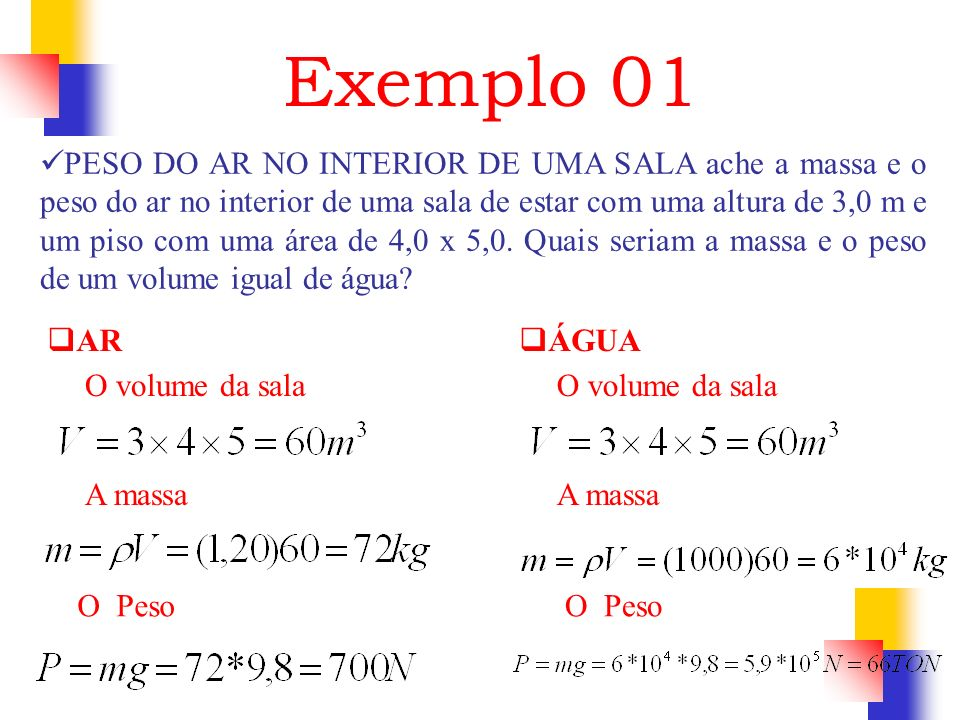 Exemplo 01 PESO DO AR NO INTERIOR DE UMA SALA ache a massa e o peso do ar no interior de uma sala de estar com uma altura de 3,0 m e um piso com uma á