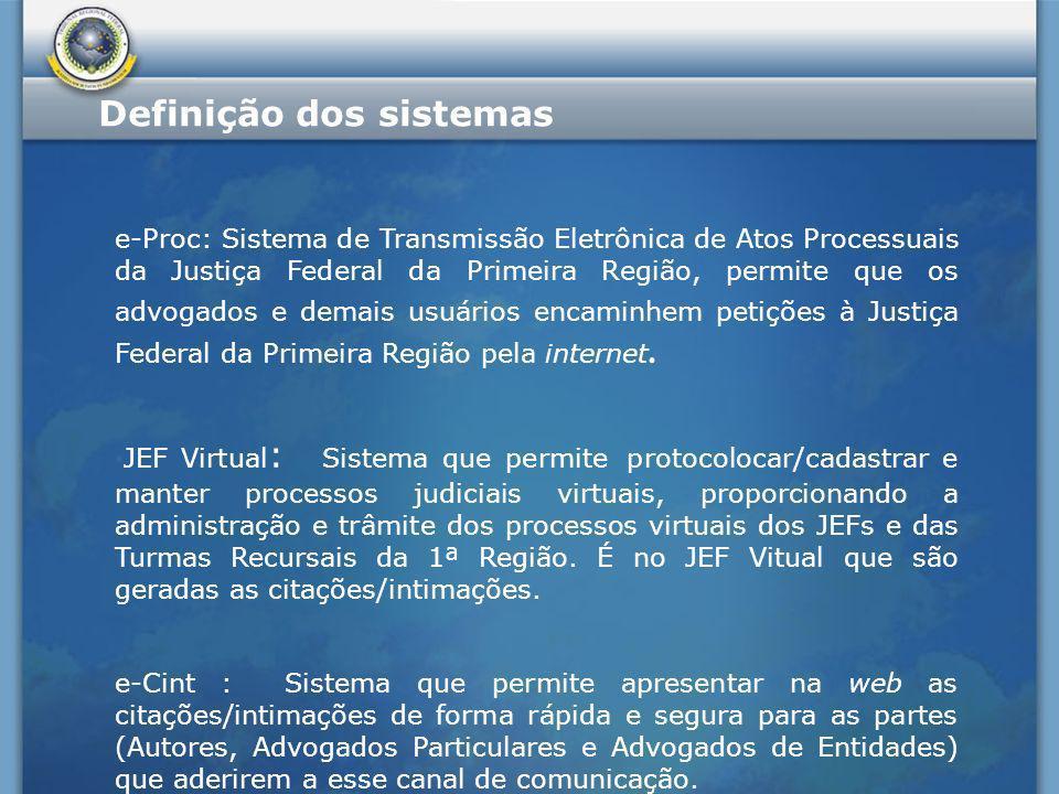 Definição dos sistemas - Arquitetura JEF Virtual e-Proc e-Cint Advogados Informações de processos Batch Cálculo do prazo Citação/Intimação Link para peticionamento Atualiza Processos Efetua Intimações Base de Feriados Calendário