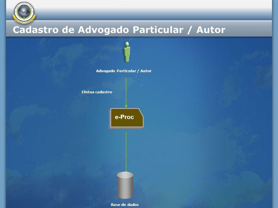 e-Proc Efetua cadastro Advogado Particular / Autor Base de dados Cadastro de Advogado Particular / Autor