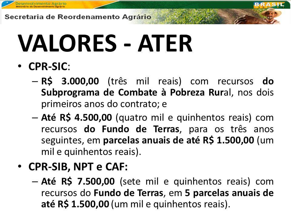 VALORES - ATER CPR-SIC: – R$ 3.000,00 (três mil reais) com recursos do Subprograma de Combate à Pobreza Rural, nos dois primeiros anos do contrato; e