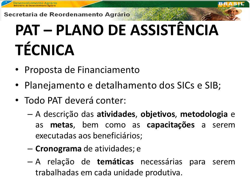 PAT – PLANO DE ASSISTÊNCIA TÉCNICA Proposta de Financiamento Planejamento e detalhamento dos SICs e SIB; Todo PAT deverá conter: – A descrição das ati
