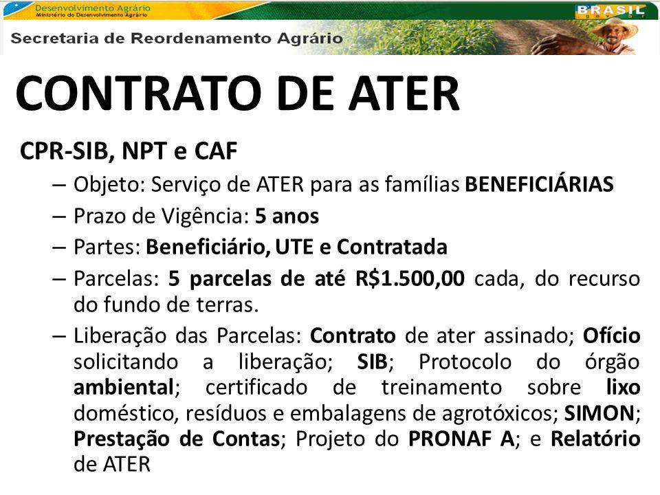 CONTRATO DE ATER CPR-SIB, NPT e CAF – Objeto: Serviço de ATER para as famílias BENEFICIÁRIAS – Prazo de Vigência: 5 anos – Partes: Beneficiário, UTE e