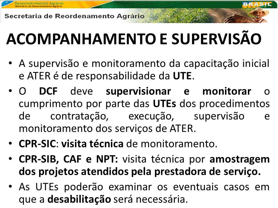 ACOMPANHAMENTO E SUPERVISÃO A supervisão e monitoramento da capacitação inicial e ATER é de responsabilidade da UTE. O DCF deve supervisionar e monito