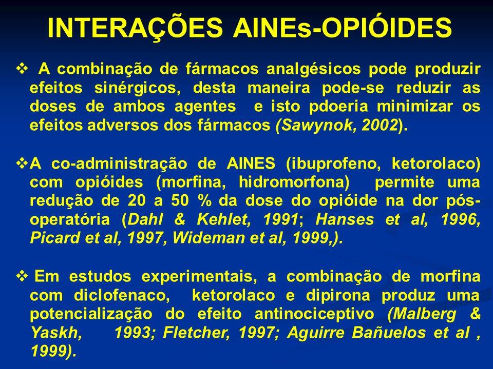 INTERAÇÕES AINEs-OPIÓIDES A combinação de fármacos analgésicos pode produzir efeitos sinérgicos, desta maneira pode-se reduzir as doses de ambos agent
