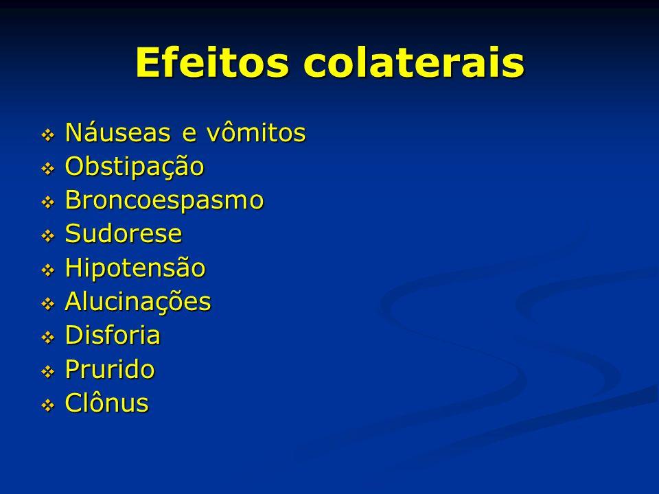 Efeitos colaterais Náuseas e vômitos Náuseas e vômitos Obstipação Obstipação Broncoespasmo Broncoespasmo Sudorese Sudorese Hipotensão Hipotensão Aluci