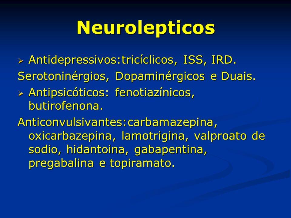 Neurolepticos Antidepressivos:tricíclicos, ISS, IRD. Antidepressivos:tricíclicos, ISS, IRD. Serotoninérgios, Dopaminérgicos e Duais. Antipsicóticos: f
