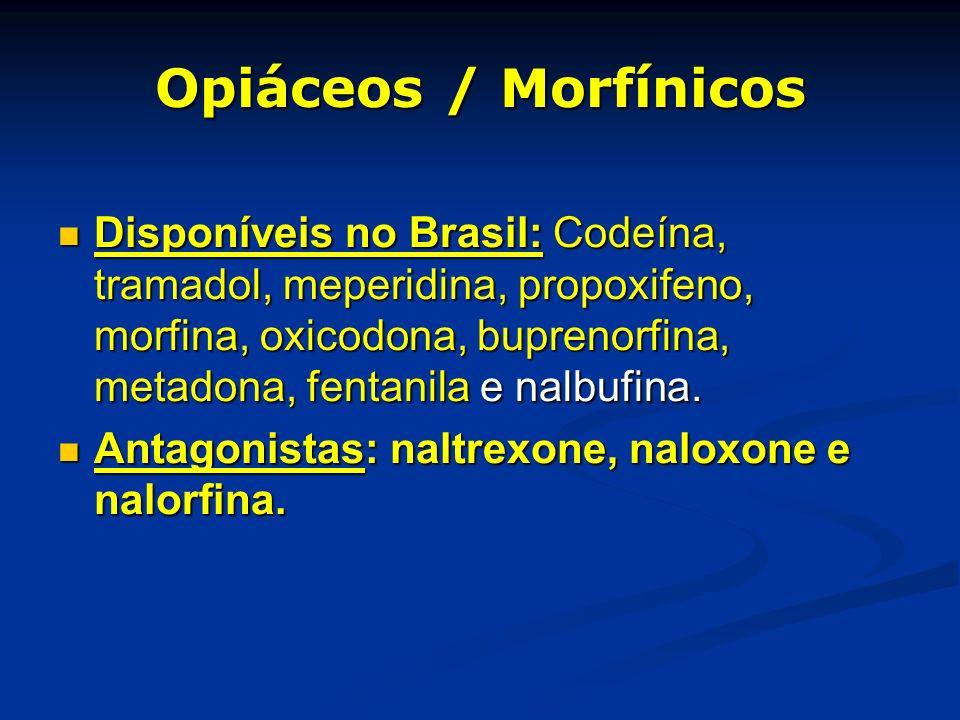 Opiáceos / Morfínicos Disponíveis no Brasil: Codeína, tramadol, meperidina, propoxifeno, morfina, oxicodona, buprenorfina, metadona, fentanila e nalbu
