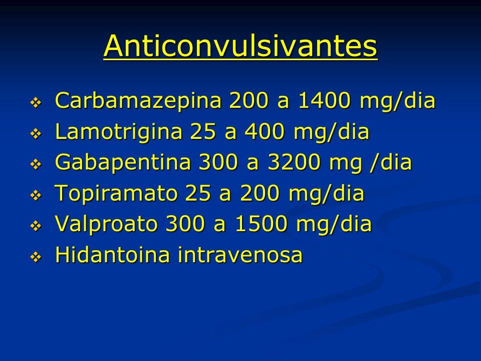 Anticonvulsivantes Carbamazepina 200 a 1400 mg/dia Carbamazepina 200 a 1400 mg/dia Lamotrigina 25 a 400 mg/dia Lamotrigina 25 a 400 mg/dia Gabapentina