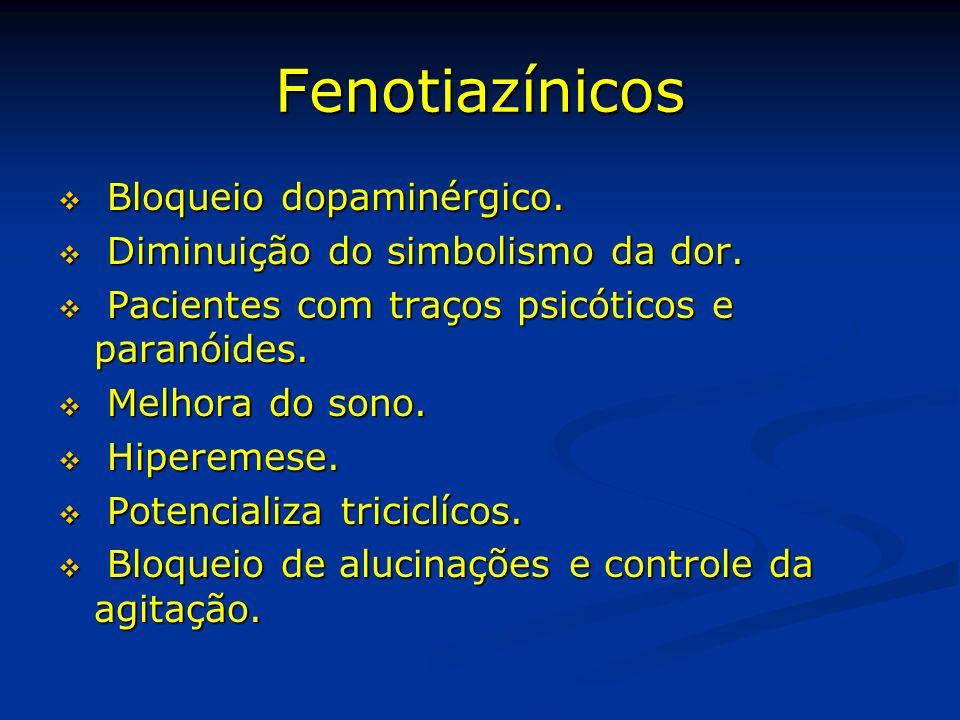Fenotiazínicos Bloqueio dopaminérgico. Bloqueio dopaminérgico. Diminuição do simbolismo da dor. Diminuição do simbolismo da dor. Pacientes com traços