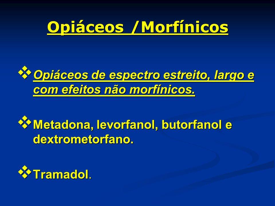 Opiáceos /Morfínicos Opiáceos de espectro estreito, largo e com efeitos não morfínicos. Opiáceos de espectro estreito, largo e com efeitos não morfíni