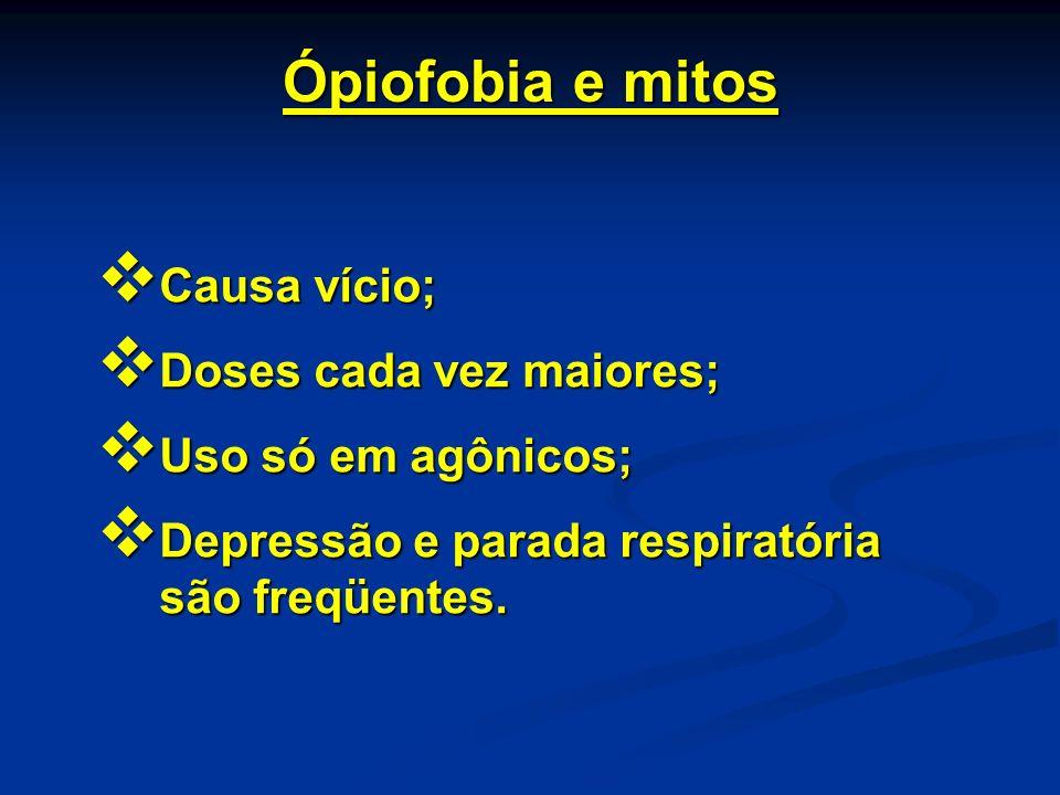 Ópiofobia e mitos Causa vício; Causa vício; Doses cada vez maiores; Doses cada vez maiores; Uso só em agônicos; Uso só em agônicos; Depressão e parada