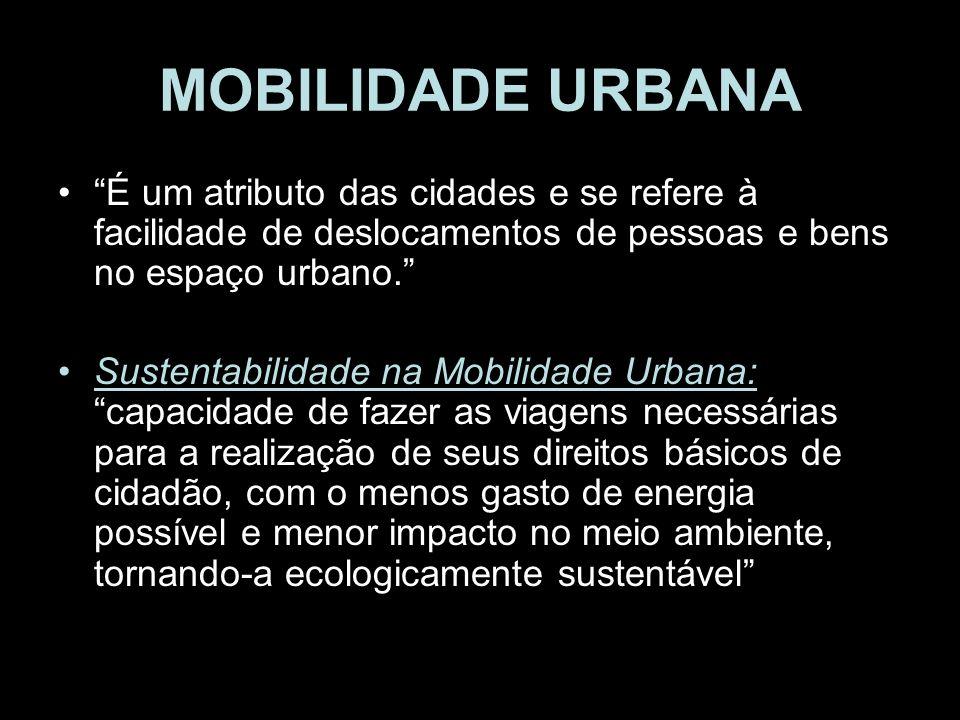 MOBILIDADE URBANA É um atributo das cidades e se refere à facilidade de deslocamentos de pessoas e bens no espaço urbano. Sustentabilidade na Mobilida