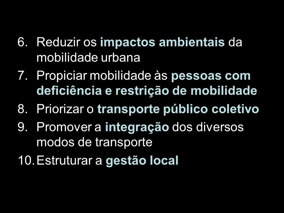 6.Reduzir os impactos ambientais da mobilidade urbana 7.Propiciar mobilidade às pessoas com deficiência e restrição de mobilidade 8.Priorizar o transp