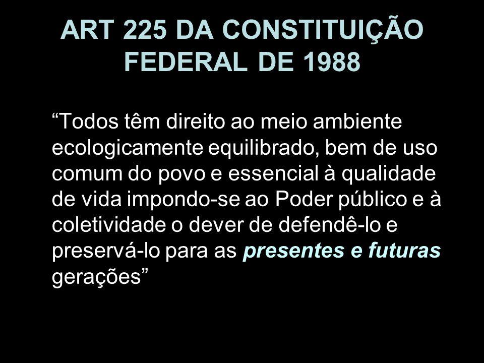 ART 225 DA CONSTITUIÇÃO FEDERAL DE 1988 Todos têm direito ao meio ambiente ecologicamente equilibrado, bem de uso comum do povo e essencial à qualidad