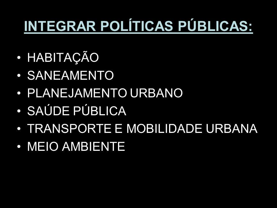 INTEGRAR POLÍTICAS PÚBLICAS: HABITAÇÃO SANEAMENTO PLANEJAMENTO URBANO SAÚDE PÚBLICA TRANSPORTE E MOBILIDADE URBANA MEIO AMBIENTE