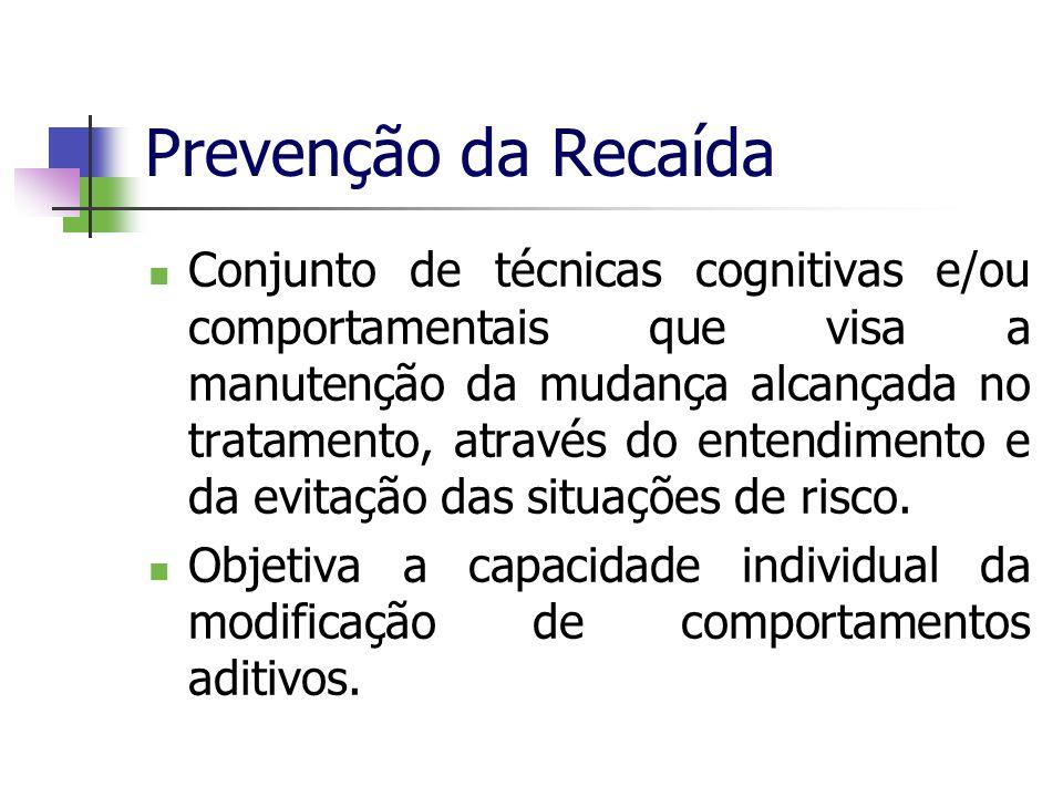 Prevenção da Recaída Conjunto de técnicas cognitivas e/ou comportamentais que visa a manutenção da mudança alcançada no tratamento, através do entendi