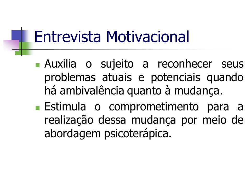 Entrevista Motivacional Auxilia o sujeito a reconhecer seus problemas atuais e potenciais quando há ambivalência quanto à mudança. Estimula o comprome