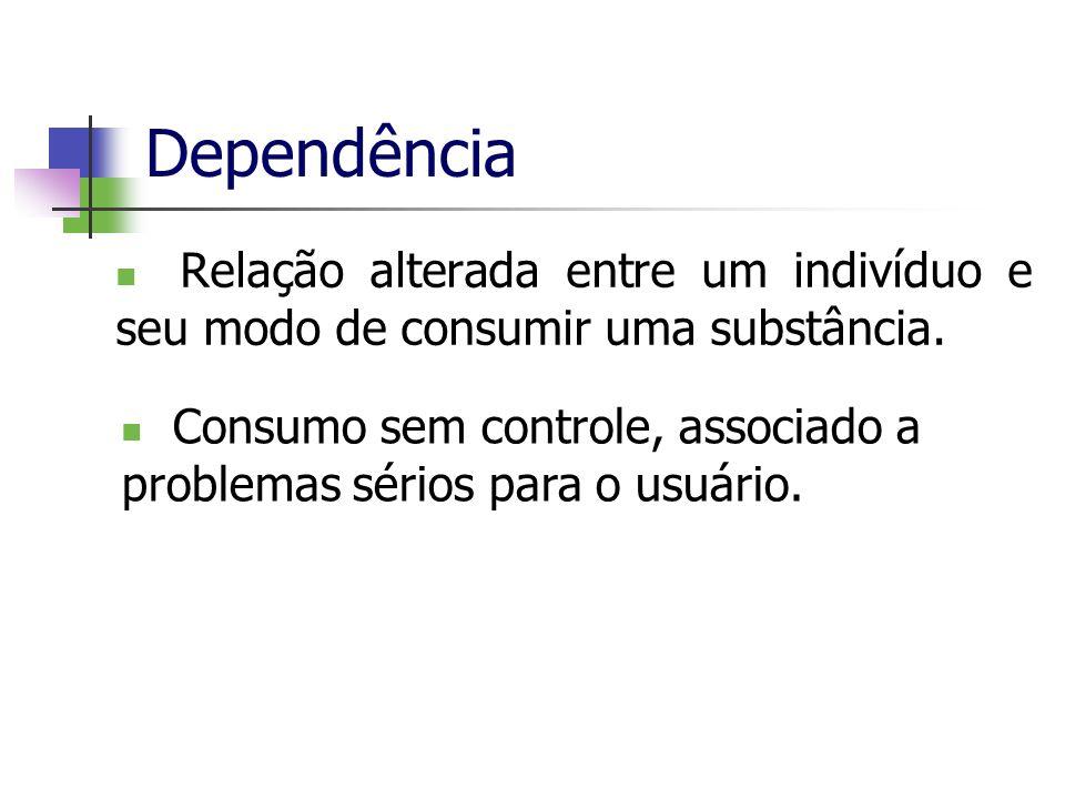 Dependência Relação alterada entre um indivíduo e seu modo de consumir uma substância. Consumo sem controle, associado a problemas sérios para o usuár
