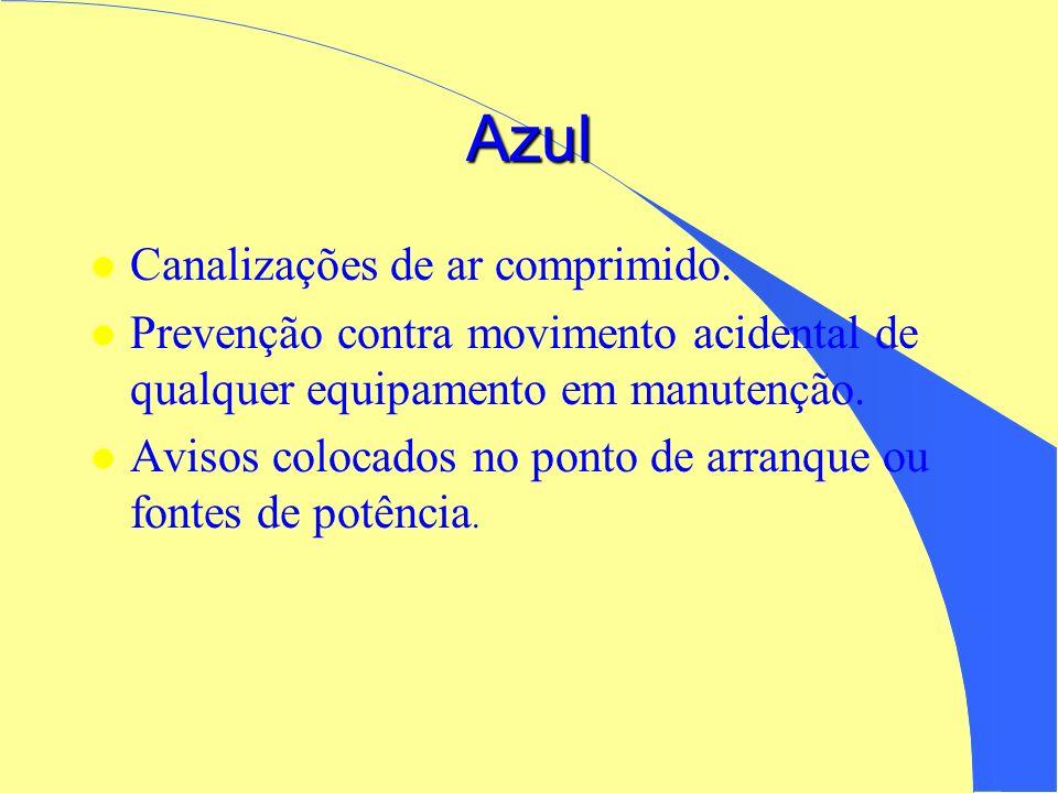 Azul l Canalizações de ar comprimido. l Prevenção contra movimento acidental de qualquer equipamento em manutenção. l Avisos colocados no ponto de arr
