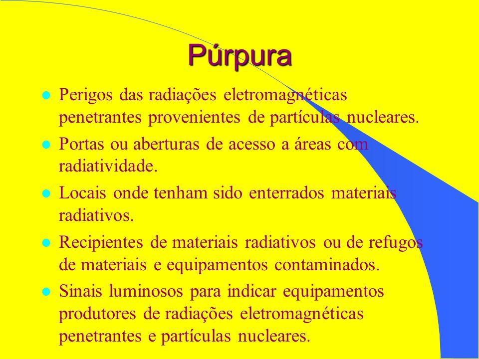 Púrpura l Perigos das radiações eletromagnéticas penetrantes provenientes de partículas nucleares. l Portas ou aberturas de acesso a áreas com radiati