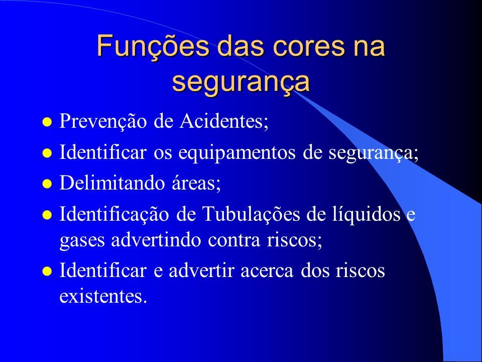 Funções das cores na segurança l Prevenção de Acidentes; l Identificar os equipamentos de segurança; l Delimitando áreas; l Identificação de Tubulaçõe