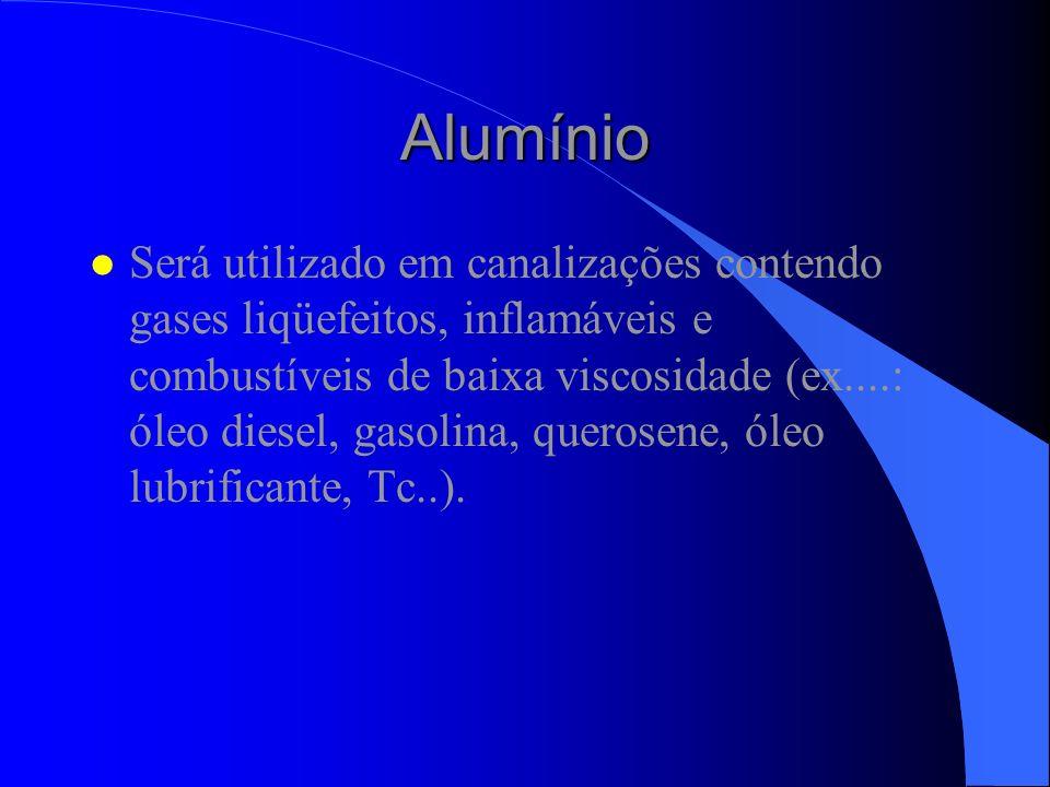 Alumínio l Será utilizado em canalizações contendo gases liqüefeitos, inflamáveis e combustíveis de baixa viscosidade (ex....: óleo diesel, gasolina,